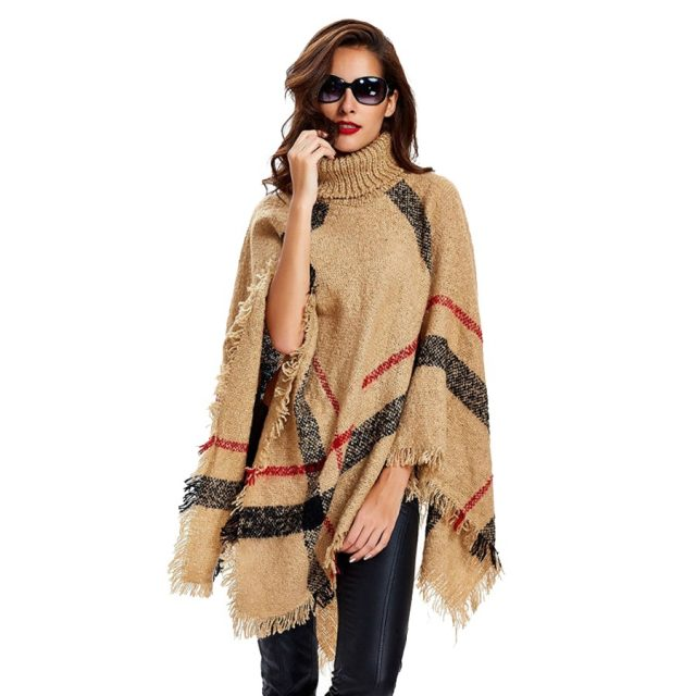 Women's Wool Plaid Knitted Poncho
